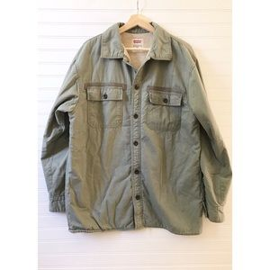 Levi's Sherpa lined button down shirt jacket green